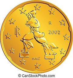 vector Italian money gold euro coin twenty cents