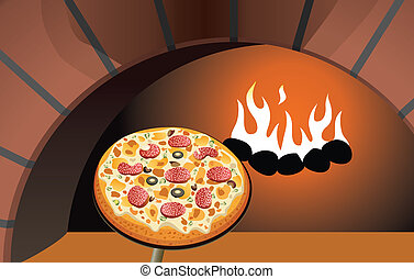 vector italian pizza and oven
