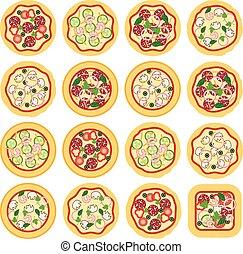 vector italian pizza icons
