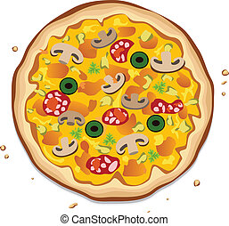 italian pizza - vector italian pizza on white background