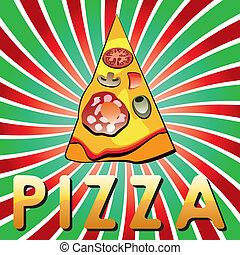 vector italian pizza slice on shiny retro background