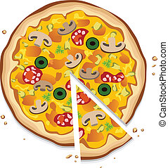 italian pizza with a slice - vector italian pizza with a...