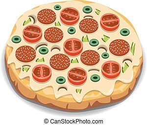 Vector Italian pizza with tomato