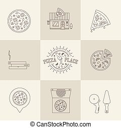 pizza icons - vector itallian pizza icons flat style ...