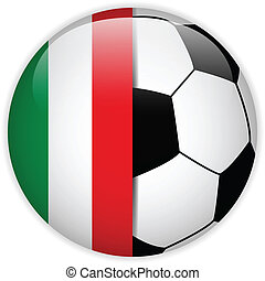 Italy Flag with Soccer Ball Background