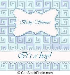 Its a boy card with greek pattern