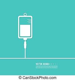 Vector iv bag icon. Saline symbol on background. Medical...