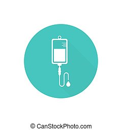 Vector iv bag icon. Saline symbol on background. The concept of treatment and therapy, chemotherapy. Modern design flat design with long shadow, web button