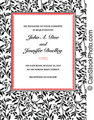 Vector Ivy Invitation Frame - Vector frame with sample text...
