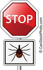 vector Ixodes ricinus tick road stop sign