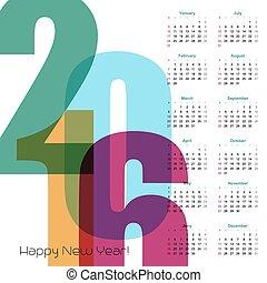 vector, jaar, calendar., illustratie