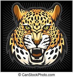 Vector jaguar portrait. Jaguars head on black background.
