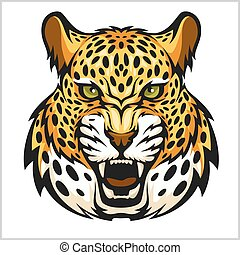 Vector jaguar portrait. Jaguars head on white background.