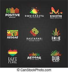 vector, jamaica, concepto, colorido, reggae, baile,...
