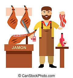 Vector Jamon Butcher Shop. Flat style colorful Cartoon...
