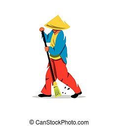 Vector Janitor Cartoon Illustration.