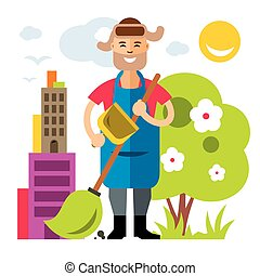 Vector Janitor. Flat style colorful Cartoon illustration.