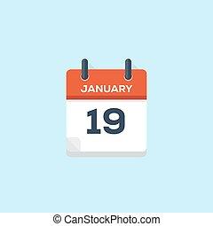 vector, januari, kalender, 19., illustratie