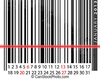 vector, januari, streepjescode, illustratie, kalender, 2013...