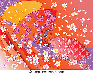 vector japanese fans, ribbons and flowers - vector japanese...