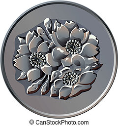 Japanese money, silver coin one hundred yen, with the image of cherry blossoms