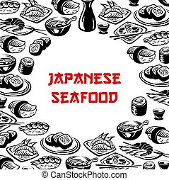 Vector Japanese seafood sushi restaurant poster - Japanese...