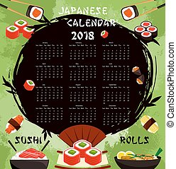 Vector Japanese sushi food calendar 2018 - Japanese cuisine...