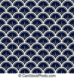 Vector Japanese waves with lines on blue background repeat seamless pattern.