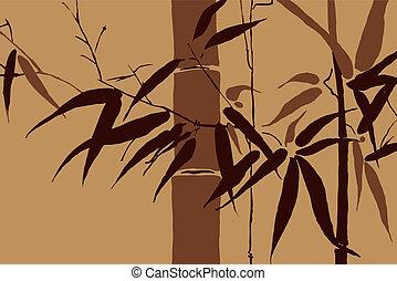 vector, -, japanner, beweegreden, 2, bamboe