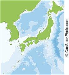 vector, japonés, mapa, ilustración, territorio