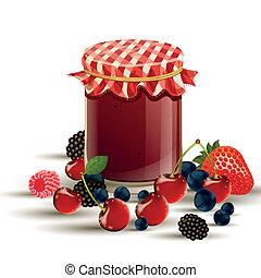 Vector Jar and Berries