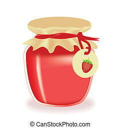 Vector jar of strawberry jam isolated