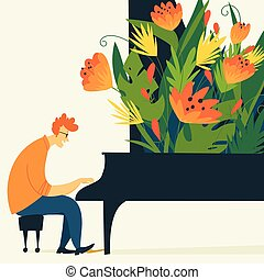 Vector jazz illustration with piano musician and flowers