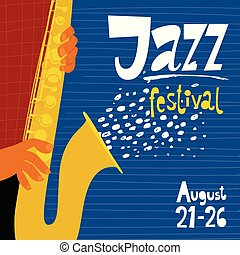 Vector jazz music poster with trumpet and lettering for festival