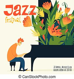 Vector jazz poster with a musician playing piano.