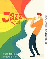 Vector jazz poster with trumpet jazz musician
