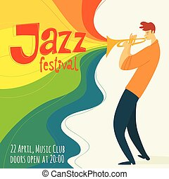 Vector jazz poster with trumpet player and festival text