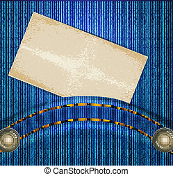 vector jeans background with quilted pockets and card label