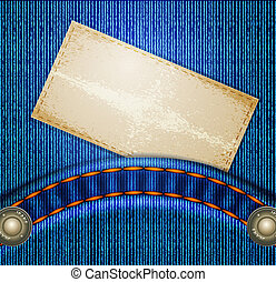 vector jeans background with quilted pockets and card-Lebel