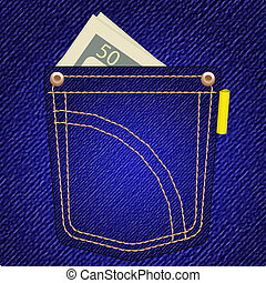 vector jeans pocket with money