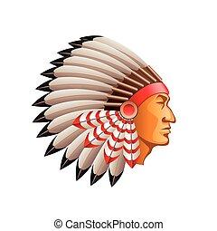 vector, jefe, aislado, indio americano, blanco
