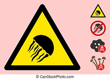 Vector Jelly Fish Warning Triangle Sign Icon - Vector jelly ...