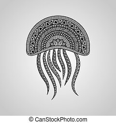 Vector Jellyfish, tattoo style, black on gradient background