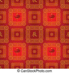 vector, jeroglífico, chino, patrón, seamless, dragón, tradicional, linternas