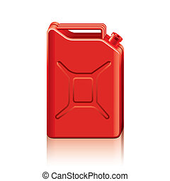 vector, jerrycan, ilustración, rojo