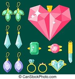 Vector jewelry items gold elegance gemstones precious accessories fashion illustration