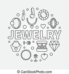 Vector Jewelry round illustration made with outline icons