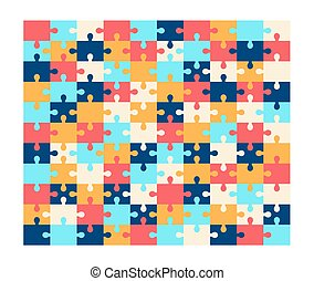 Vector jigsaw puzzle blank template, 10-11 ratio. Vector illustration in flat style, game concept.