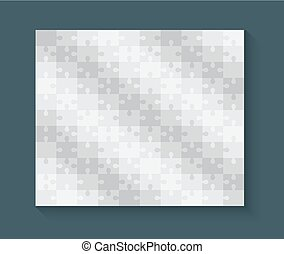 Jigsaw puzzle blank template or cutting guidelines, 10-11 ratio. Vector illustration.