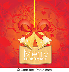 Vector Jingle bells with red bow. christmas card